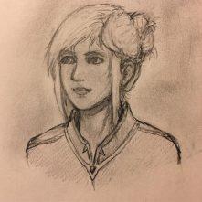 A portrait sketch of mt new D&D character