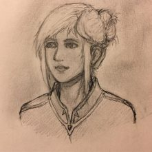 A portrait sketch of mt new D&D character